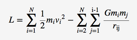 Classical Lagrangian of a gravitational N-body system